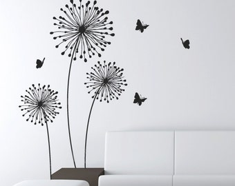 Delightful Decals Stylish Modern Flower Decals For Walls Butterfly Wall Decals Wall  Sticker Stick On Wall Art