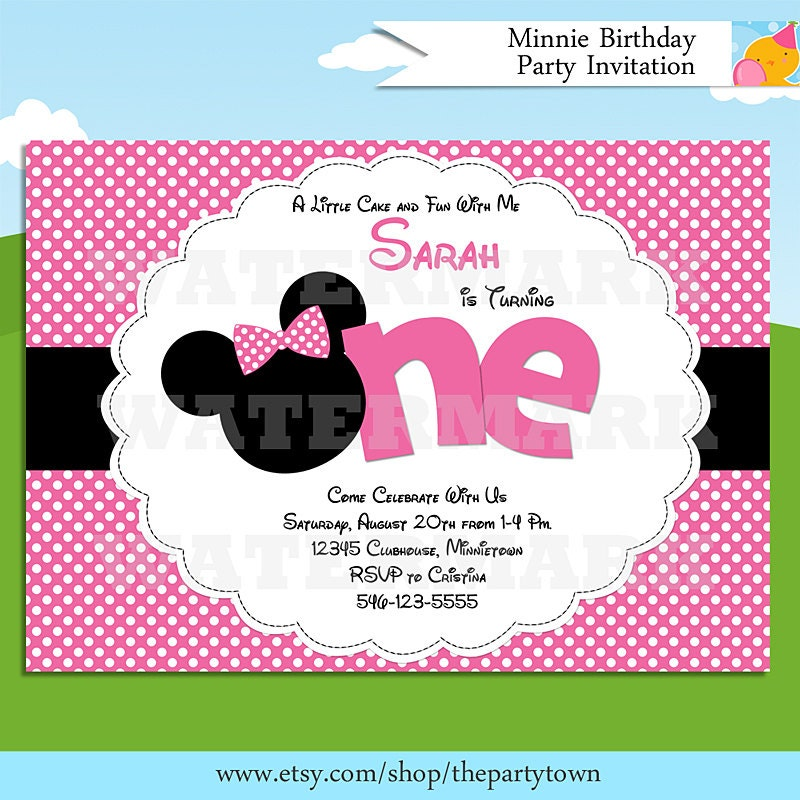 Minnie Birthday Party Invitation Pink Zebra Minnie Mouse – Minnie Invitations for Birthdays