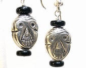 Sterling Tribal Mask Halloween Pierced Earrings