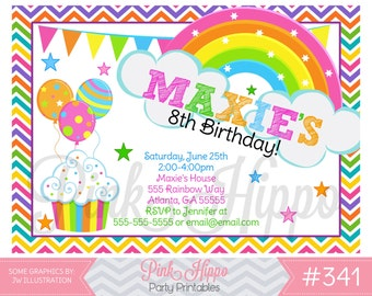 Rainbow Pastel:341-Children's Birthday Invitation, Personalized, Digital, Printable, JPEG