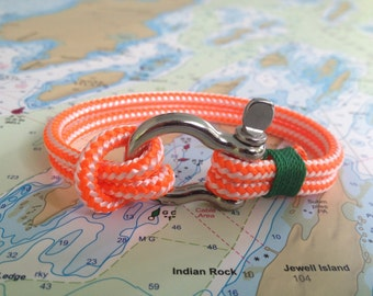Sailwinds Nautical Rope Bracelet - Orange Windjammer Bracelet for Sailors, Surfers, Kayakers and Other Ocean Sports & Beach Enthusiasts
