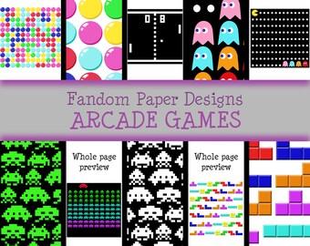 Arcade Games - Digital Scrapbook Paper - Ten Sheets