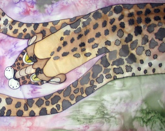 "Silk scarf Hand painted  ""Jaguar"""