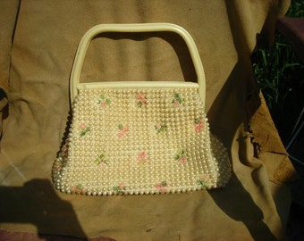 1960's Pearlized Plastic Purse w/Tiny Pink Flowers