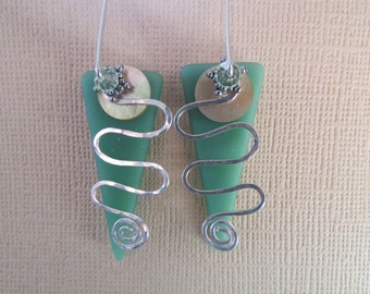 Opaque Green Faux Seaglass Triangle Earrings with Chrysolite Crystal