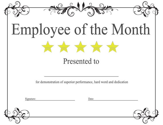 Items similar to employee of the month award template on etsy for Certificate of employee of the month template