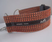 "Collarati Couture: Orange Bling.  2"" Bling with Genuine Repurposed Ribbon, Faux Rhinestone Quick Release or Martingale Style Dog Collar"