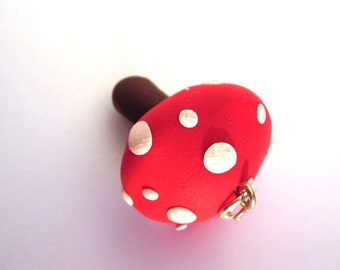 Toadstool Pendant/Charm/Necklace, Polymer Clay Red Jewellery, Polymer Clay Toadstool Necklace, Toadstool Jewelry, Red Mushroom Pendant,