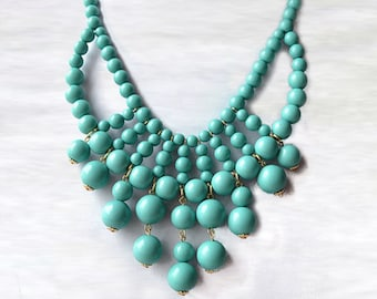 Olivia Necklace - Hot Popular / Turquoise Beadwork bubble necklace, bib statement necklace, bridal bridesmaid party necklace