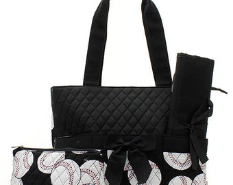 Machine Embroidered Quilted Diaper Bag-Black Trim with Baseballs