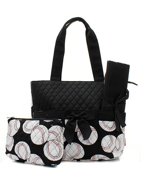 machine embroidered quilted diaper bag black trim with. Black Bedroom Furniture Sets. Home Design Ideas