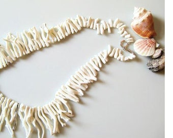 White Coral and Sterling Silver Necklace