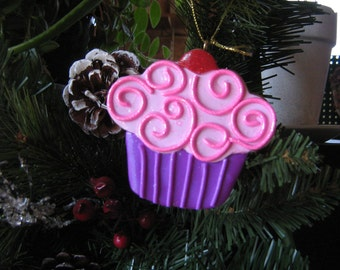 Pink cupcake cookie ornament