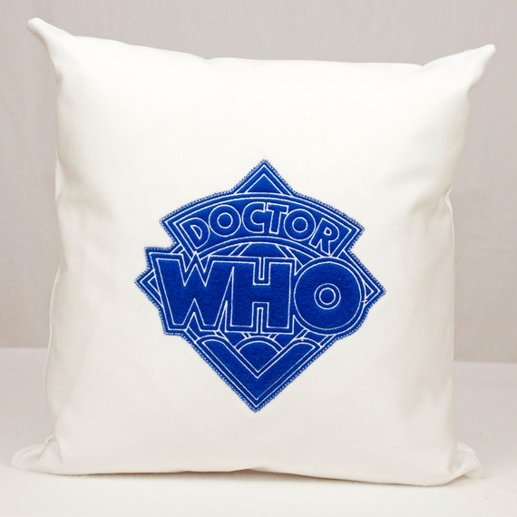Doctor Who Diamond Logo Applique on White Twill Pillow 16x16