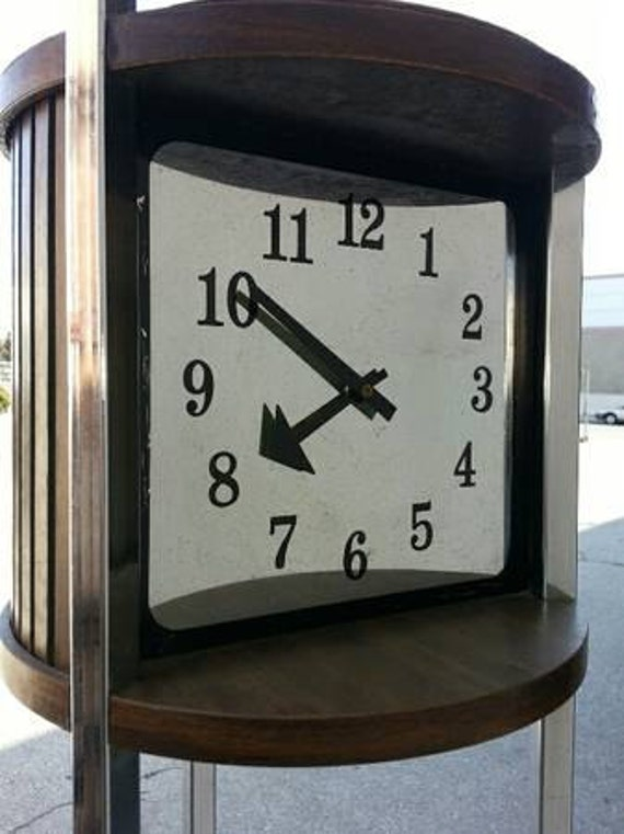 S vintage chrome wood totem floor column clock glass