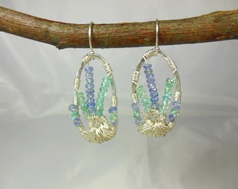 Sterling silver oval earrings with wire wrapped apatite and tanzanite gemstones