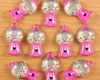 10pcs Hot Pink Bubble GUM Gumball Machine Cabochons Resin Flatbacks Scrapbooking Girl Hair Bow Center Kids Crafts Making Embellishments DIY