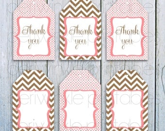 INSTANT DOWNLOAD, Printable Gift Tags, Pink and Brown Gift Tags, Personalized Favor Tags, Chevron, Custom Gift Tags, Giraffe Baby Shower