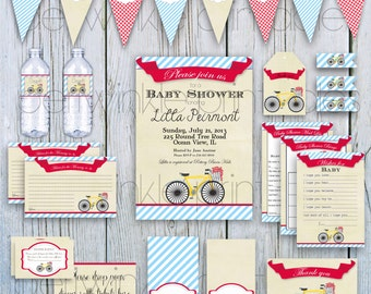 INSTANT DOWNLOAD Printable Baby Shower Set, Printalbe Party Kit, diy party decorations, vintage bicycle party, retro bike, gender neutral