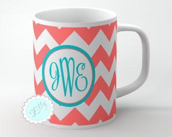 Monogram Coffee Mug, Personalized Coffee Mug, Monogrammed Coffee Cup, Coral Monogram, Monogrammed Mug, Customized Mug- 042