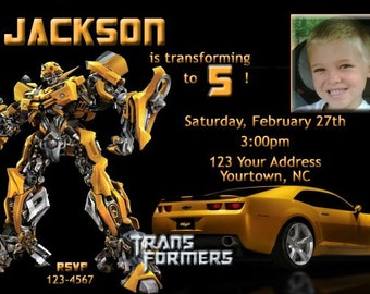 Transformers Birthday Party Invitations Bumblebee 20 Prints (envelopes included)