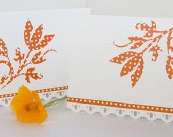Orange Polka-Dot Floral Notecards - Set of Four