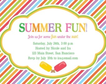 Summer Fun Stripes - Summer  Party Invitation