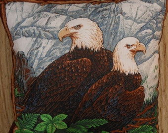 Eagles in Nest Pillow, 14 X 14 Decorative Pillow