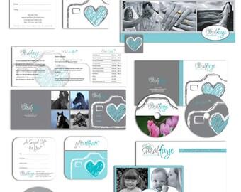 SALE Photography marketing set marketing kit templates heart camera photography logo - 19 editable psd files