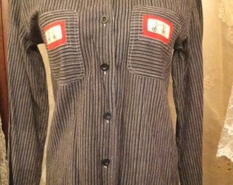 Vintage black and grey stripe shirt