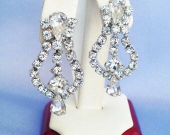 Dangle Clear Rhinestone Screwback Earrings