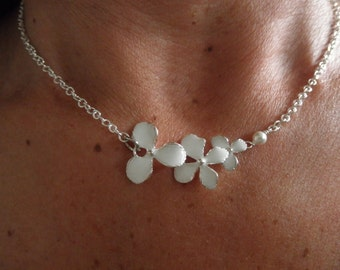 White Orchid flower necklace with white tiny swarovski pearl - wedding necklace - bridesmaid jewelry - enamel jewelry - flower jewelry