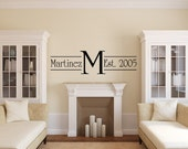 "13"" x 48"" Monogram Name and Year Decal  - Vinyl Wall Decal Sticker"