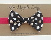 Black and White Polka Dot Fabric Bow Baby Headband