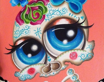 Print of my sugar skull painting day of the dead by Jordana Hawen