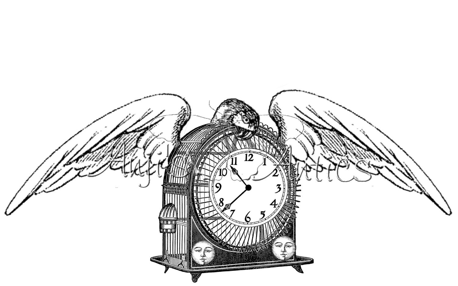 Steampunk mantel clock with wings by endlessinspirecrafts - Steampunk mantle clock ...