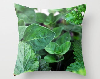 Herbs, Pillow Cover, 16x16,18x18,20x20, home decoration, Bush, macro, green, botanical, healthy,garden, oregano, mint,parsley,country living