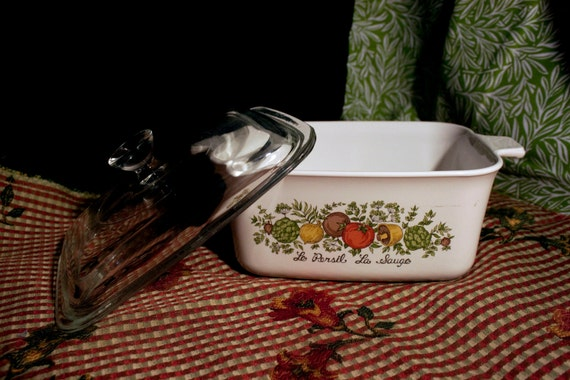 "Vintage Corningware Spice of Life ""Le Persil La Sauge"" 1.5 L Casserole Baking Dish with Pyrex Lid : EPSteam"