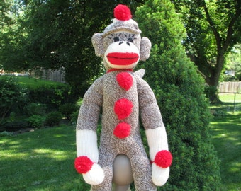 Traditional Sock Monkey Doll Brown Handmade BopBo the Monkey Childrens Toy