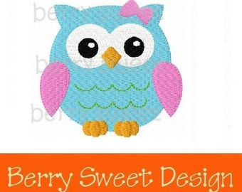 Girly owl machine embroidery design
