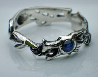Silver and Sapphire Dragon Ring