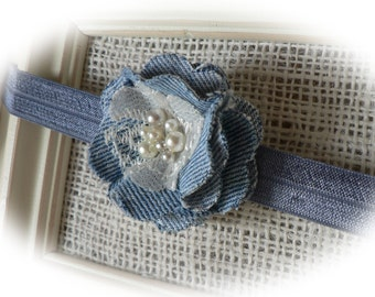 Denim, Lace & Pearl Headband . . Photo Prop/Baby/Toddler/Girl/Adult Headband