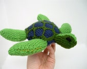 Sea Turtle, hand-knit stuffed animal toy