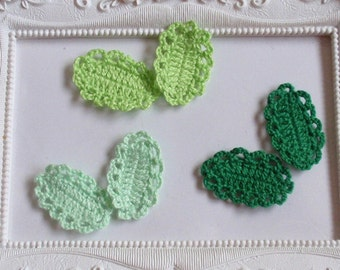 6 crochet leaves applique CH-015-01