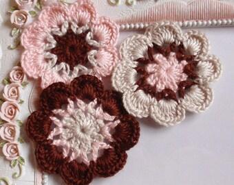 3 crochet flowers applique CH-041-07