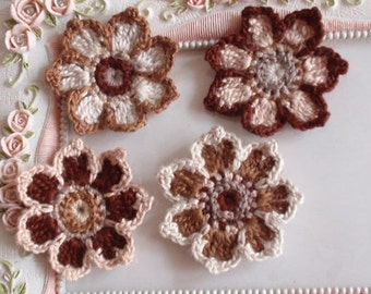4 crochet flowers applique CH-038-03