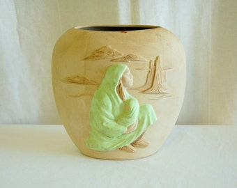 Stoneware Vase of Mother and Baby in Desert by Tom Williams (1987)