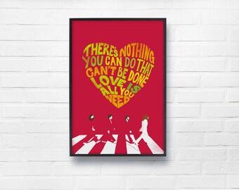 Beatles Lyric A2 Canvas Poster