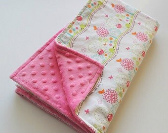 Animal Friends Girl Minky Blanket - Michael Miller Pink Owl Blanket -Owls and Birds- Baby Blanket -Stroller Blanket- Cot Blanket - Car Seat