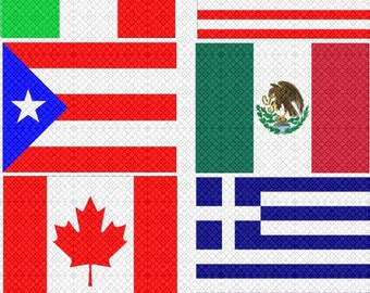 Digital Collage Sheet 6 Flags for Scrapbooking Clip Art USA Italy Greece Canada Mexico Puerto Rico for Instant Download 300dpi commercial